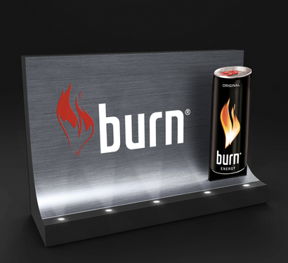 presentoir lumineux en metal burn
